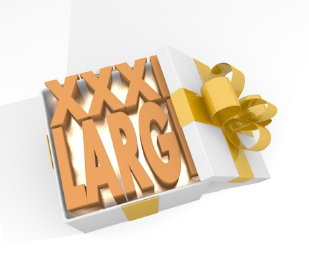 xxxl: isolated 3d rendered xmas present with glittering XL icon inside seen from top with white background