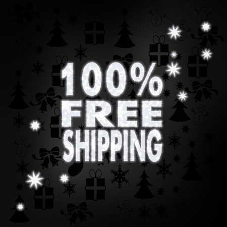 seasonal stylish 100 percent freeshipping symbol in black white with xmas icons in the background and presents and glaring stars Stock Photo - 24279825