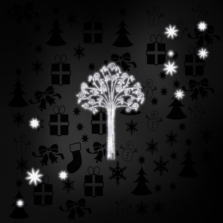 autumnn: seasonal stylish abstract tree label in black white with xmas icons in the background and presents and glaring stars