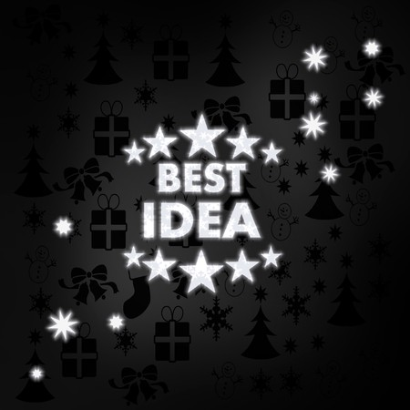 think tank: festive stylish best idea symbol in black white with xmas icons in the background and presents and glaring stars