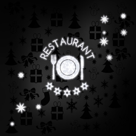 knive: seasonal stylish restaurant label in black white with xmas icons in the background and presents and glaring stars Stock Photo