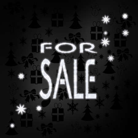 seasonal stylish sale symbol in black white with xmas icons in the background and presents and glaring stars photo