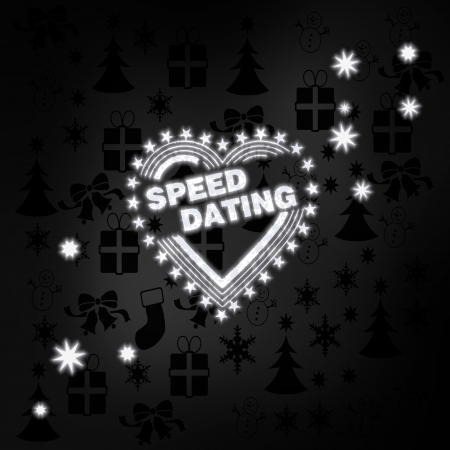 speed dating: festive stylish speed dating label in black white with xmas icons in the background and presents and glaring stars