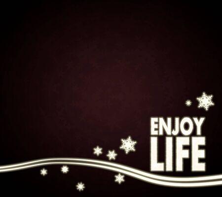 enjoy life: decorativo nobile modello di vita godere in rosso scuro con fiocchi di neve di Natale e stelle clamorose