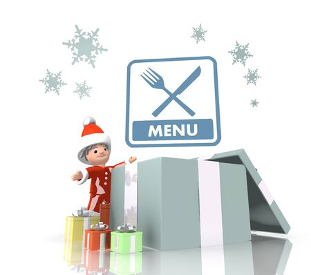 vintage style clear Santa Claus boy 3d character stands on a row of christmas presents in the largest gift a blue menu sign is on top isolated on white background photo