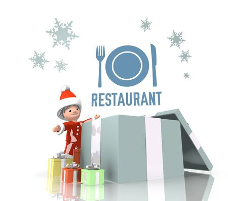 knive: vintage style little Santa Claus boy 3d character stands on a row of christmas presents in the largest gift a blue restaurant label is on top isolated on white background Stock Photo