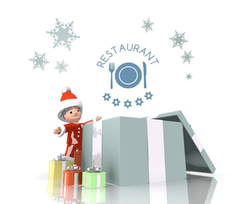 knive: vintage style little Santa Claus boy 3d character stands on a row of christmas presents in the largest gift a blue restaurant symbol is on top isolated on white background