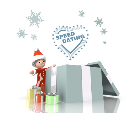 speed dating: vintage style childish Santa Claus boy 3d character stands on a row of christmas presents in the largest gift a blue speed dating label is on top isolated on white background Stock Photo