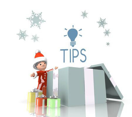 vintage style little Santa Claus boy 3d character stands on a row of christmas presents in the largest gift a blue tip symbol is on top isolated on white background photo