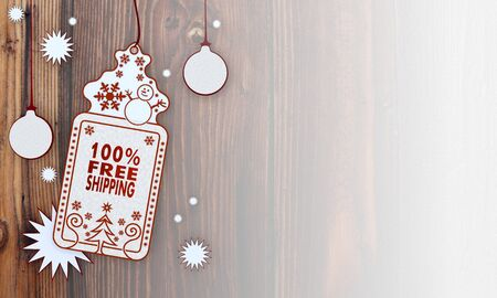 free illustration of a christmas card with 100 percent freeshipping sign in front of a wooden background with gradient to white illustration