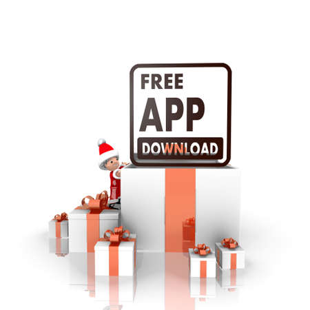 a cute Santa Claus boy 3d character stands on a row of christmas presents in the largest gift the free app download symbol is on top isolated on white background photo