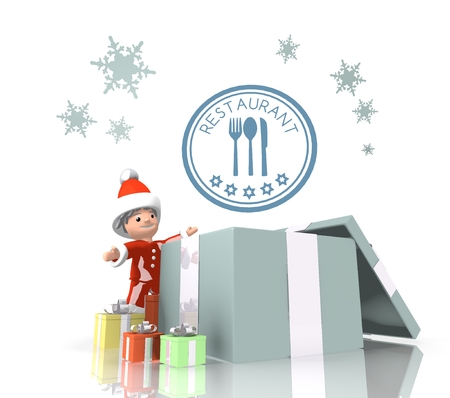 knive: vintage style cute Santa Claus boy 3d character stands on a row of christmas presents in the largest gift a blue restaurant sign is on top isolated on white background