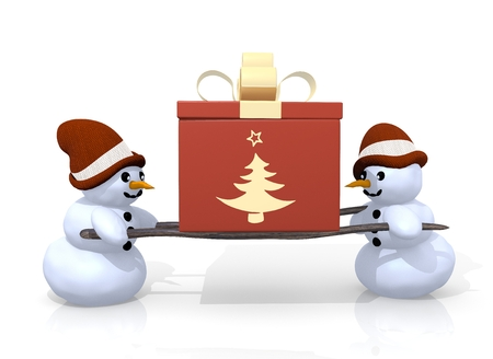 carried: a 3d rendered gift with a abstract christmas tree symbol printed on it is carried by two little snowman isolated on white background