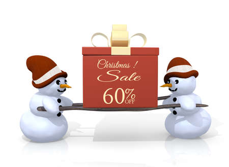 carried: a 3d rendered gift with a Christmas discount 60 percent off symbol printed on it is carried by two happy snowman isolated on white background Stock Photo