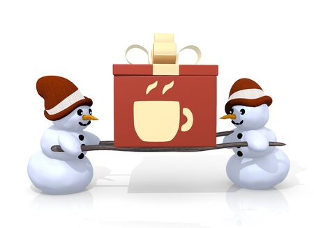 carried: a 3d rendered gift with a coffee symbol printed on it is carried by two tea snowman isolated on white background
