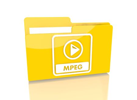it is isolated: a 3d rendered icon showing a file folder with a mpeg file symbol on it isolated on white background Stock Photo