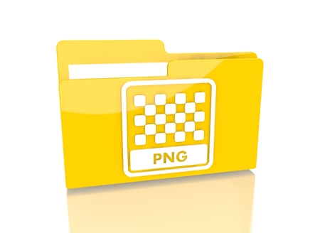 png: a 3d rendered icon showing a file folder with a png file sign on it isolated on white background