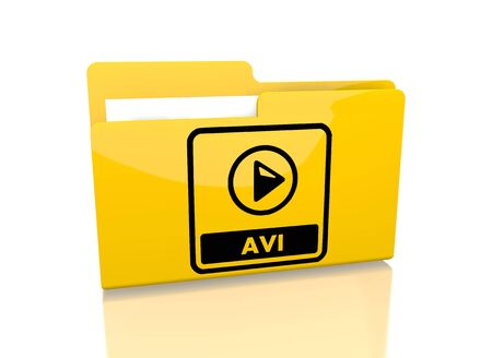 avi: a 3d rendered icon showing a file folder with a avi file sign on it isolated on white background