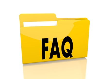 a 3d rendered icon showing a file folder with a faq sign on it isolated on white background photo