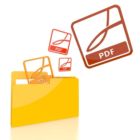 isolated 3d file folder with three pdf symbol flying into it