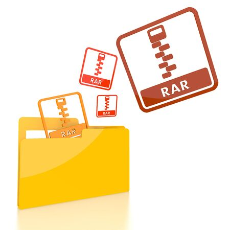 rar: isolated 3d file folder with three rar file symbol flying into it