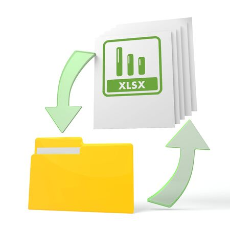 isolated 3d file folder with xlsx sign on documents with symbol for upload and download