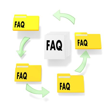 isolated 3d graphic presents a network and work flow with file folders and documets with faq in it  photo
