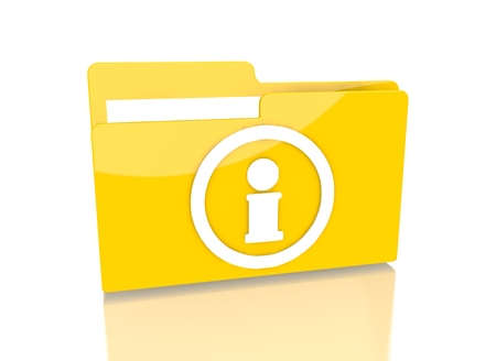 it is isolated: a 3d rendered icon showing a file folder with a information symbol on it isolated on white background