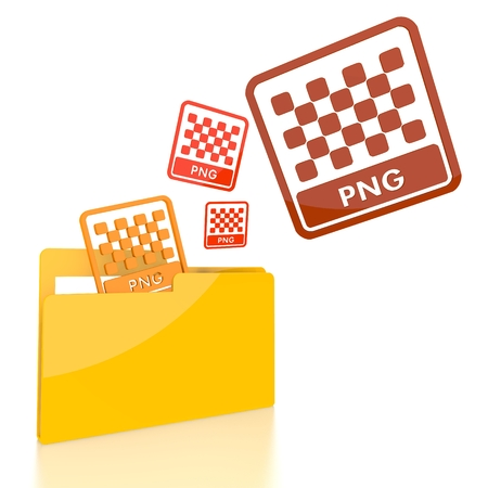 png: isolated 3d file folder with three png file symbol flying into it Stock Photo