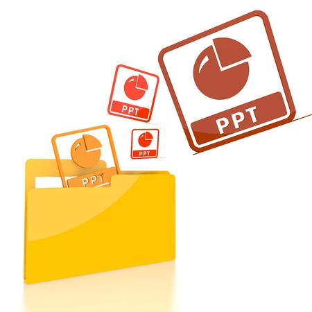 isolated 3d file folder with three ppt sign flying into it Stock Photo