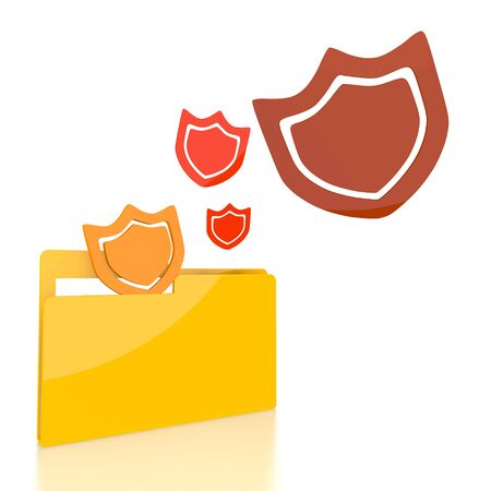 shielded: isolated 3d file folder with three protection symbol flying into it
