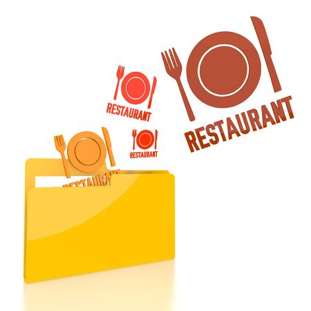 knive: isolated 3d file folder with three restaurant symbol flying into it
