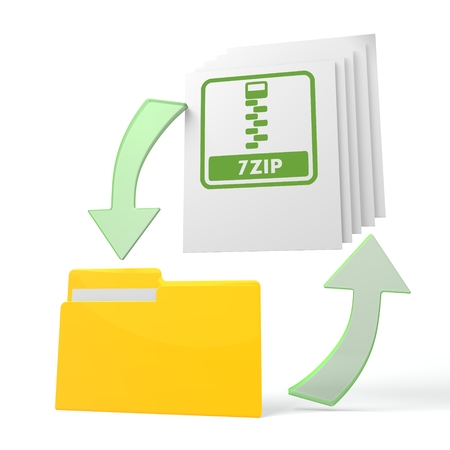 packed: isolated 3d file folder with 7zip file symbol on documents with symbol for upload and download