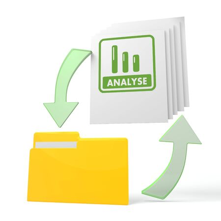 isolated 3d file folder with analyse German for analysis symbol on documents with symbol for upload and download photo