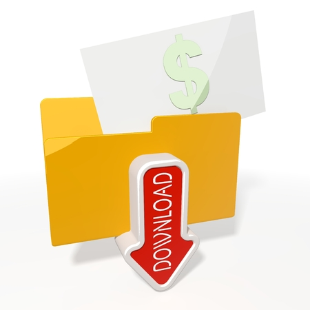 it is isolated: 3d icon of a file folder for download with a red Dollar in it isolated on white background