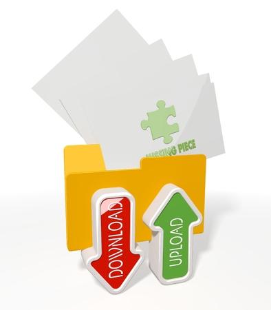 missing piece: 3d icono de una carpeta de archivo para la carga y descarga de los documentos de pieza que falta volar en �l aislados sobre fondo blanco