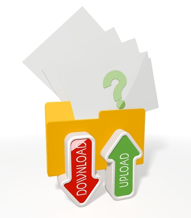 unresolved: 3d icon of a file folder for upload and download with question documents flying into it isolated on white background Stock Photo