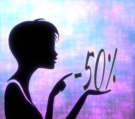 glaring: silhouette of a creative girl presenting a glaring discount on modern fresh pink blue background Stock Photo