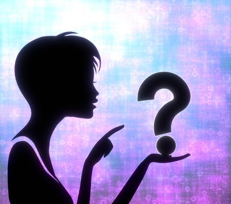 glaring: silhouette of a creative girl presenting a glaring question on modern fresh pink blue background