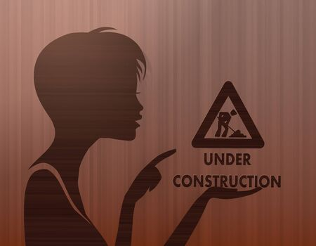 build in: silhouette of a noble woman presenting a under construction on stylish background with brown lines Stock Photo