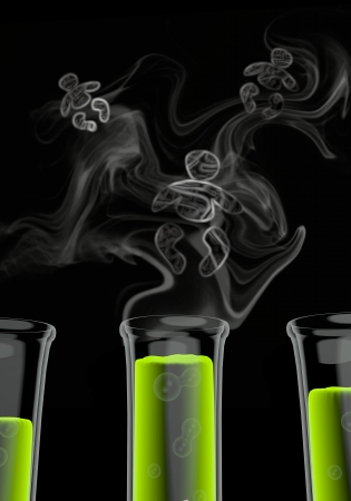 test tube babies: Bright green  experimental lab 3d graphic with experimental baby icon formed by smoke