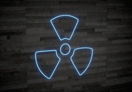 Pastel gray  neon interior 3d graphic with exclusive atom symbol on classy stone wall photo