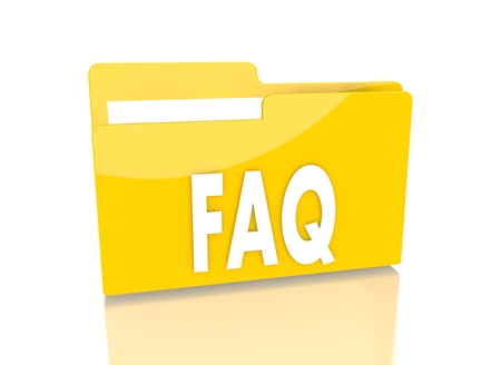 a 3d rendered icon showing a file folder with a faq symbol on it isolated on white background photo