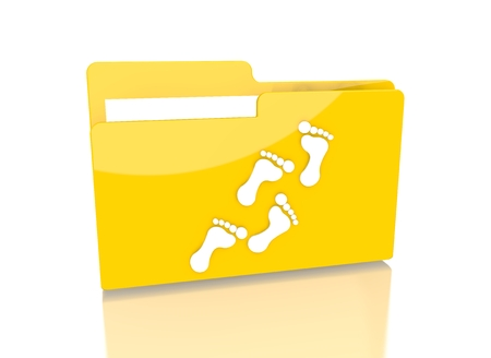 it is isolated: a 3d rendered icon showing a file folder with a footprint sign on it isolated on white background