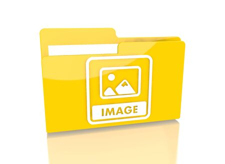 it is isolated: a 3d rendered icon showing a file folder with a image sign on it isolated on white background