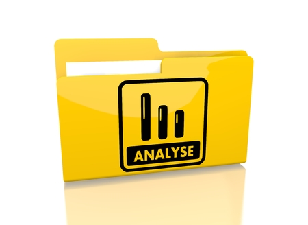 a 3d rendered icon showing a file folder with a analyse German for analysis symbol on it isolated on white background photo