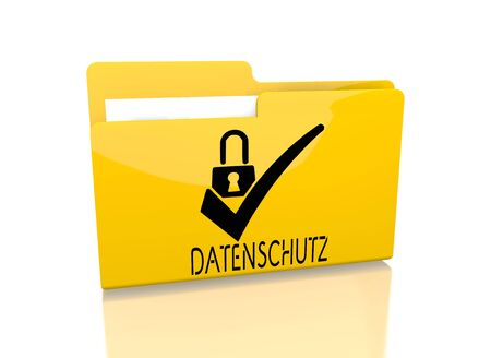 ciphering: a 3d rendered icon showing a file folder with a datenschutz(english data protection) sign on it isolated on white background