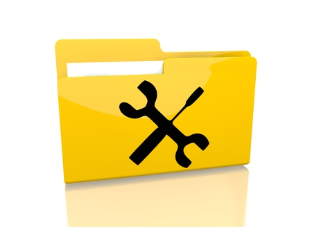 a 3d rendered icon showing a file folder with a mechanic sign on it isolated on white background photo