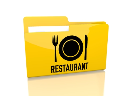 knive: a 3d rendered icon showing a file folder with a restaurant sign on it isolated on white background