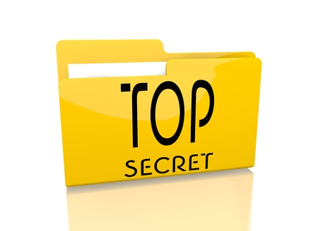 arcane: a 3d rendered icon showing a file folder with a top secret sign on it isolated on white background